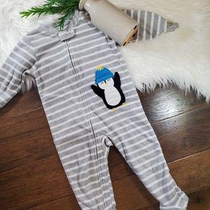 🌿5/$25 Carter's Fleece Grey Penguin Footie sz 18m